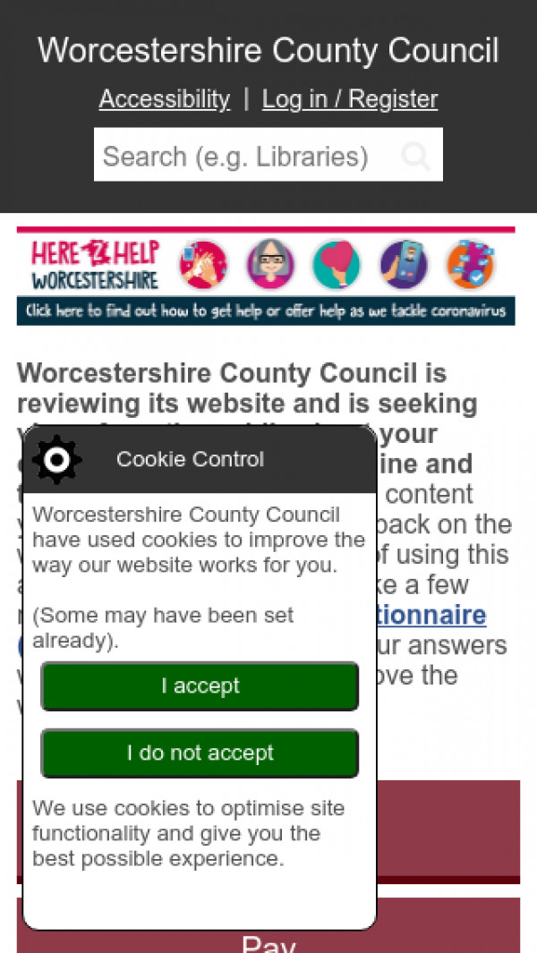 Mobile screenshot of Worcestershire County Council website