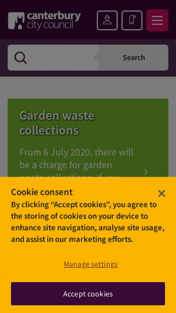 Mobile screenshot of Canterbury City Council website