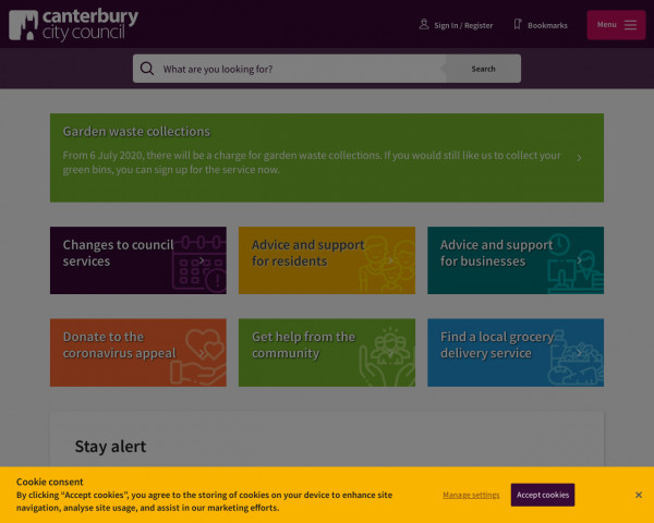 Desktop screenshot of Canterbury City Council website