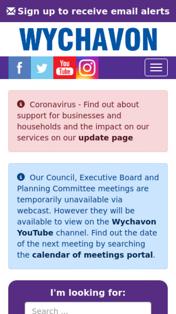 Mobile screenshot of Wychavon District Council website