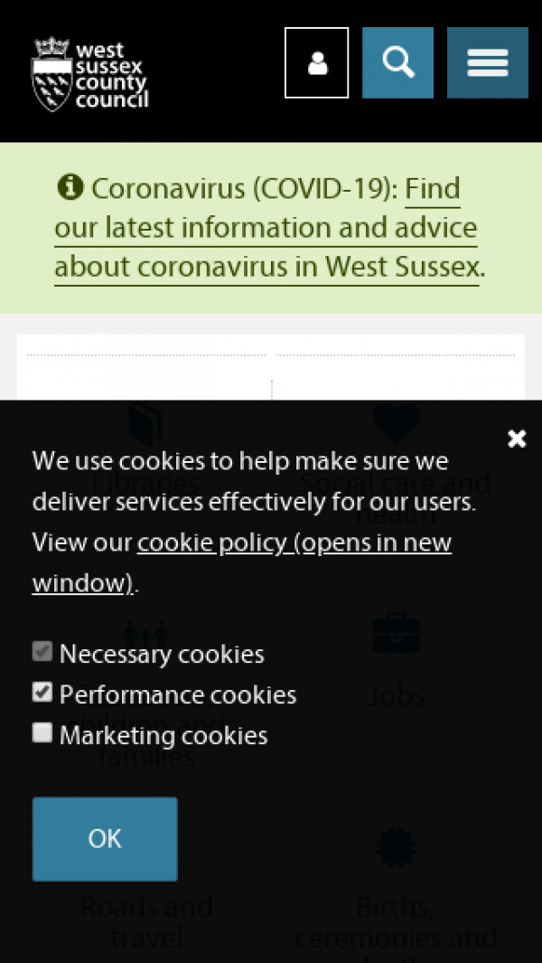 Mobile screenshot of West Sussex County Council website