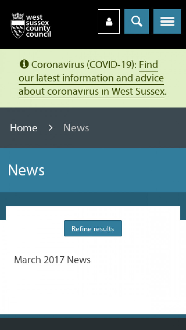 Screenshot of News - West Sussex County Council