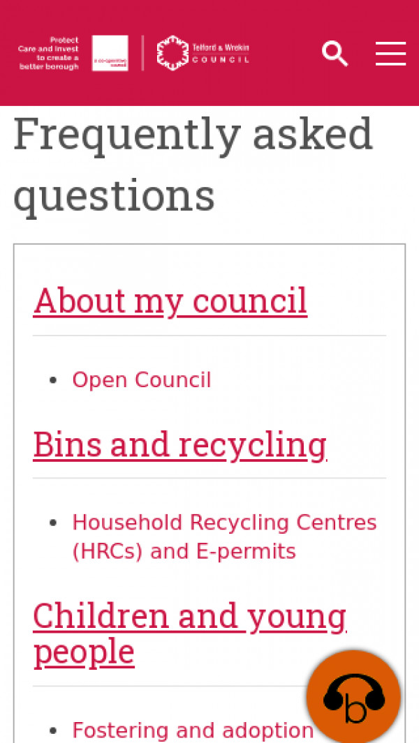 Mobile screenshot of Telford & Wrekin Council website