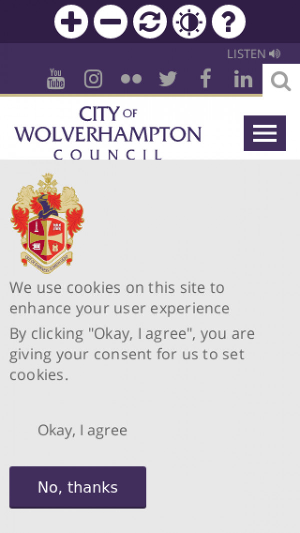 Mobile screenshot of Wolverhampton City Council website