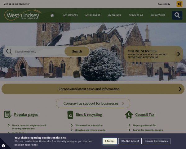 Desktop screenshot of West Lindsey District Council website