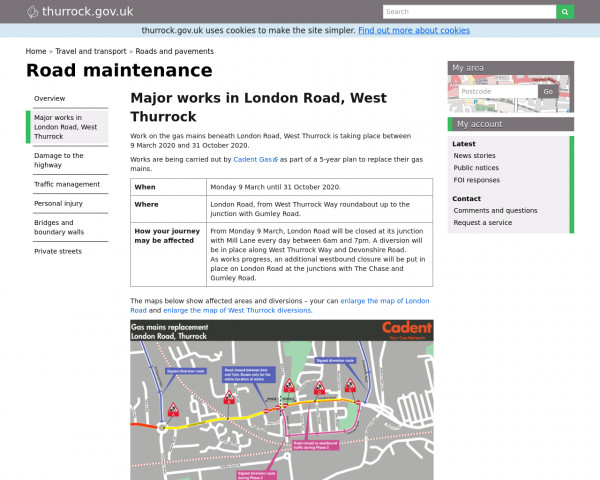 Screenshot of Major works in London Road, West Thurrock | Road maintenance | Thurrock Council