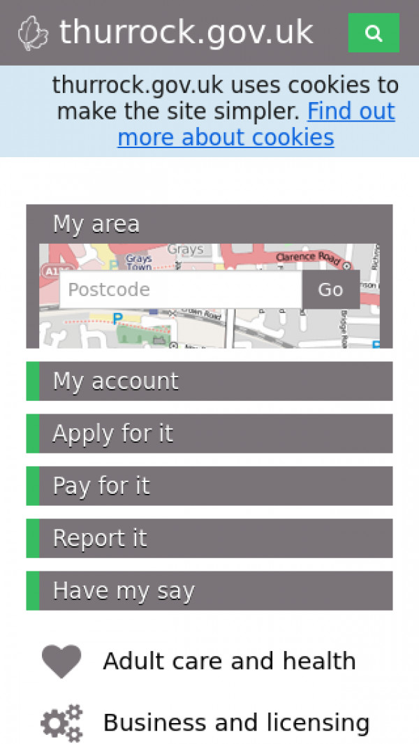 Mobile screenshot of Thurrock Council website