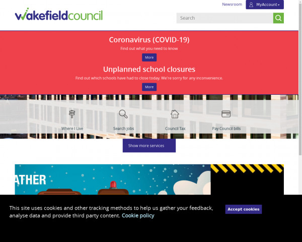 Desktop screenshot of Wakefield City Metropolitan District Council website
