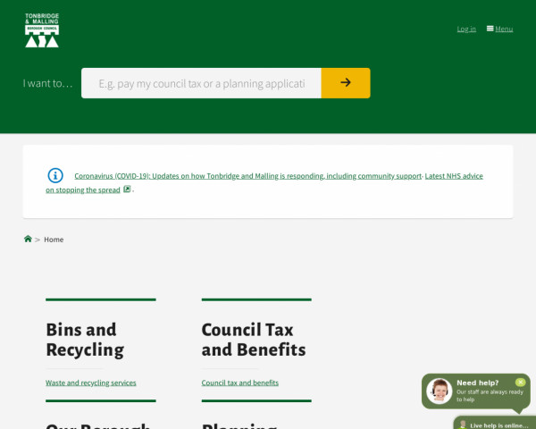 Desktop screenshot of Tonbridge and Malling Borough Council website