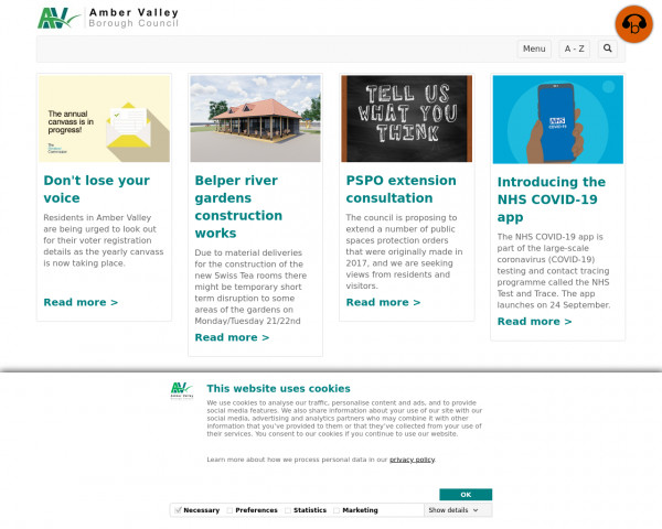 Desktop screenshot of Amber Valley Borough Council website