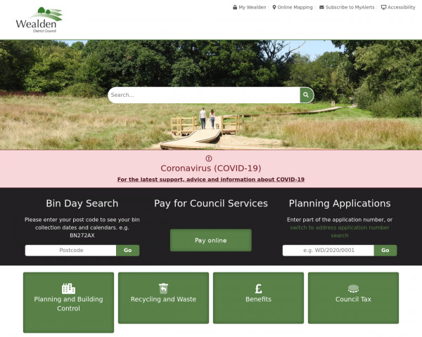 Desktop screenshot of Wealden District Council website