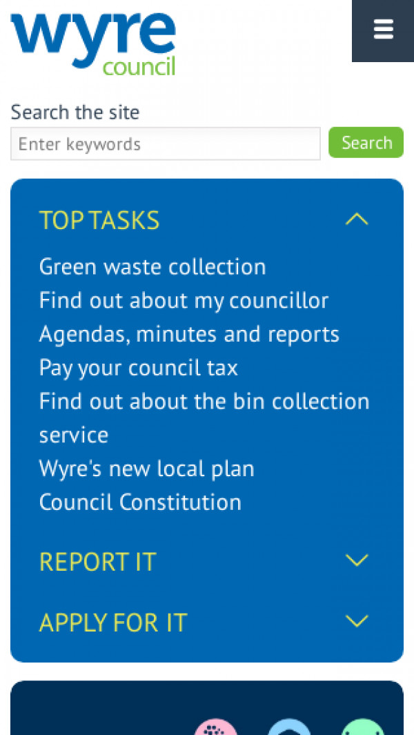Mobile screenshot of Wyre Borough Council website