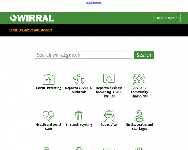 Desktop screenshot of Wirral Metropolitan Borough Council website