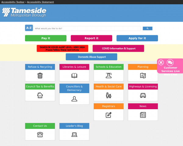 Desktop screenshot of Tameside Metropolitan Borough Council website