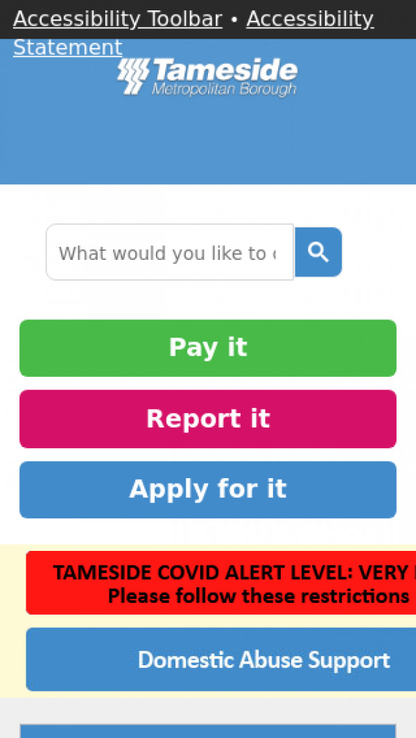 Mobile screenshot of Tameside Metropolitan Borough Council website