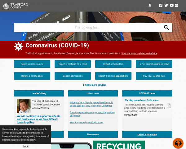 Desktop screenshot of Trafford Council website