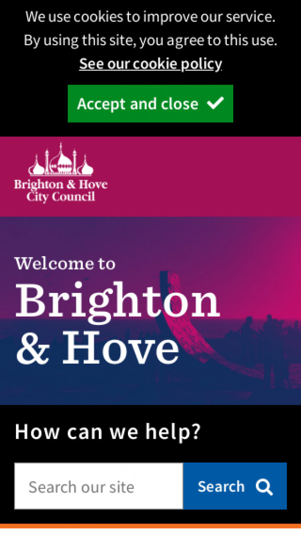 Mobile screenshot of Brighton and Hove City Council website