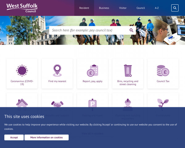 Desktop screenshot of West Suffolk Council website