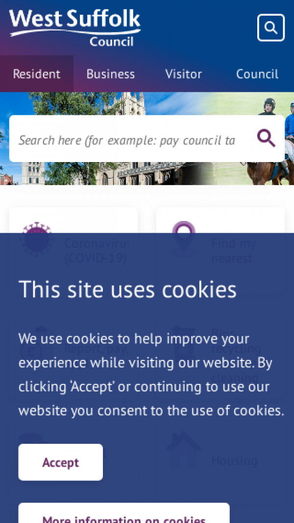 Mobile screenshot of West Suffolk Council website