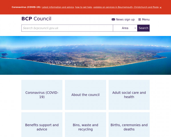 Desktop screenshot of BCP Council website