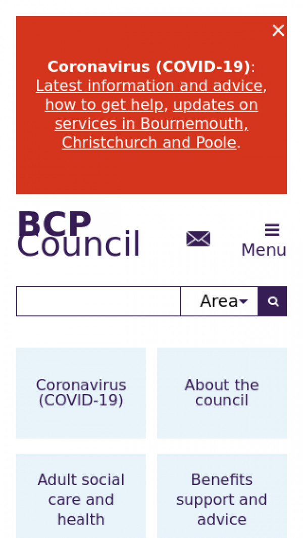 Mobile screenshot of BCP Council website