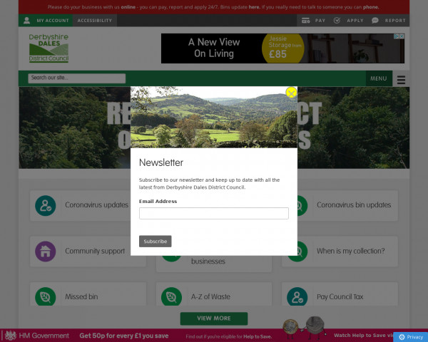 Desktop screenshot of Derbyshire Dales District Council website