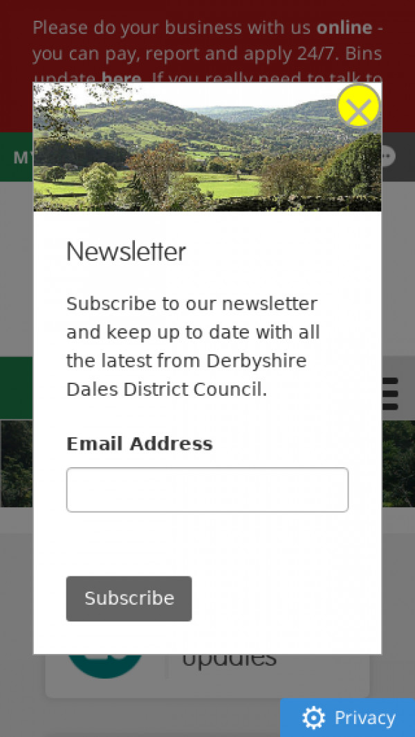 Mobile screenshot of Derbyshire Dales District Council website