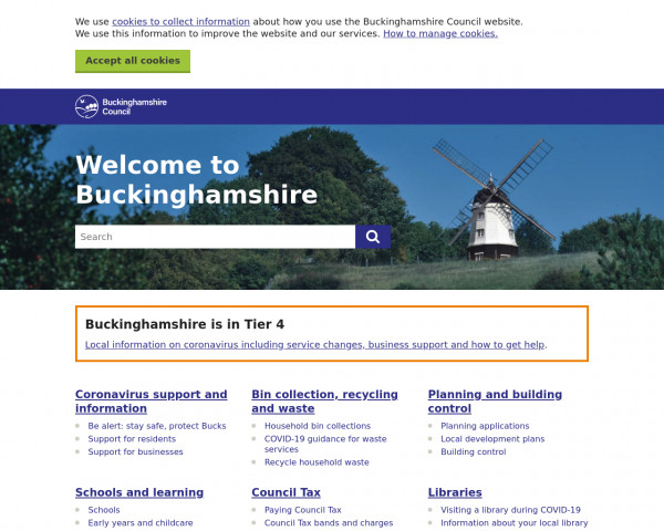 Desktop screenshot of Buckinghamshire Council website