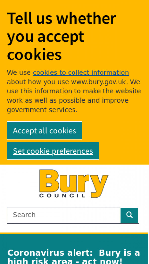 Mobile screenshot of Bury Metropolitan Borough Council website
