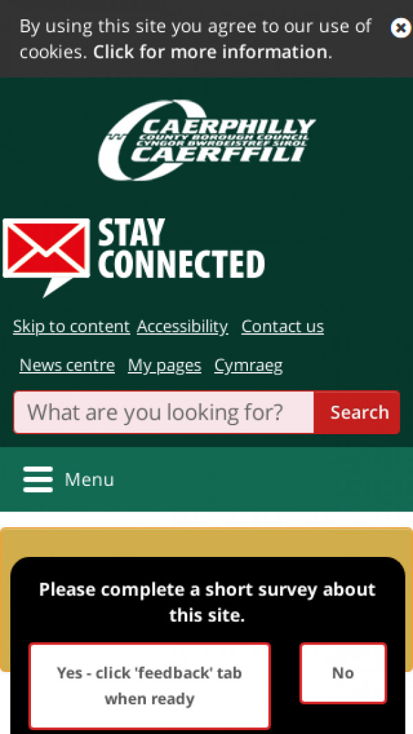 Mobile screenshot of Caerphilly County Borough Council website