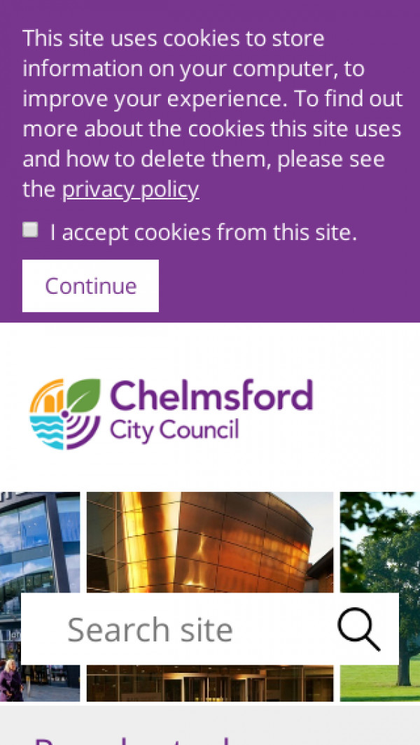 Mobile screenshot of Chelmsford City Council website