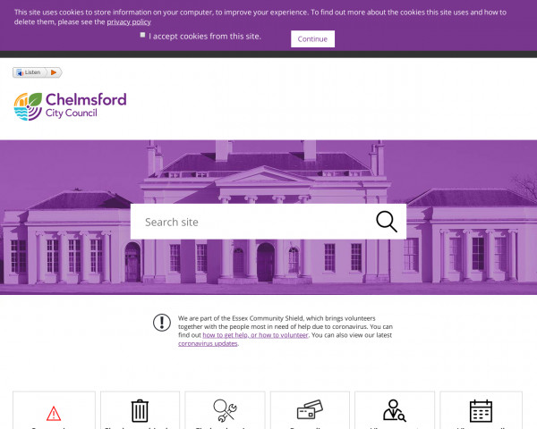 Desktop screenshot of Chelmsford City Council website