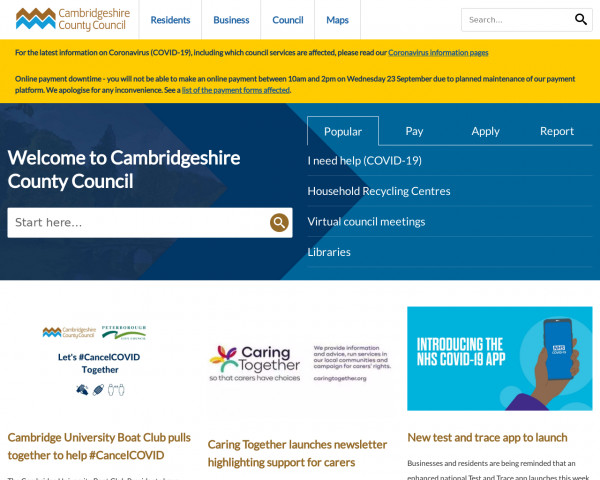 Desktop screenshot of Cambridgeshire County Council website