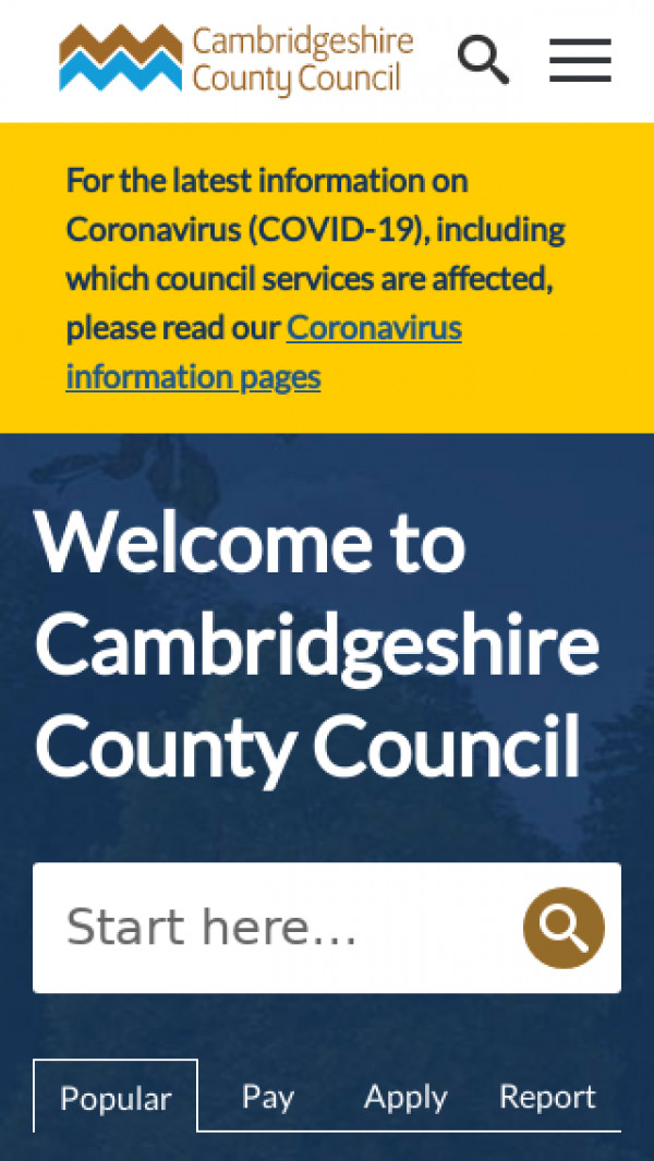 Mobile screenshot of Cambridgeshire County Council website