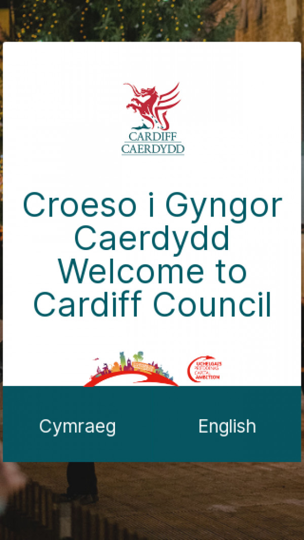 Mobile screenshot of Cardiff Council website