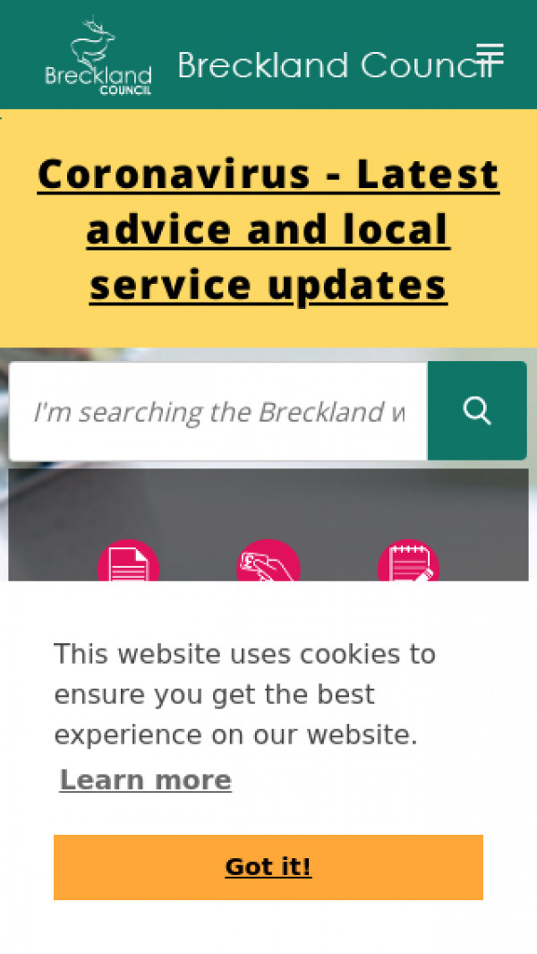Mobile screenshot of Breckland District Council website