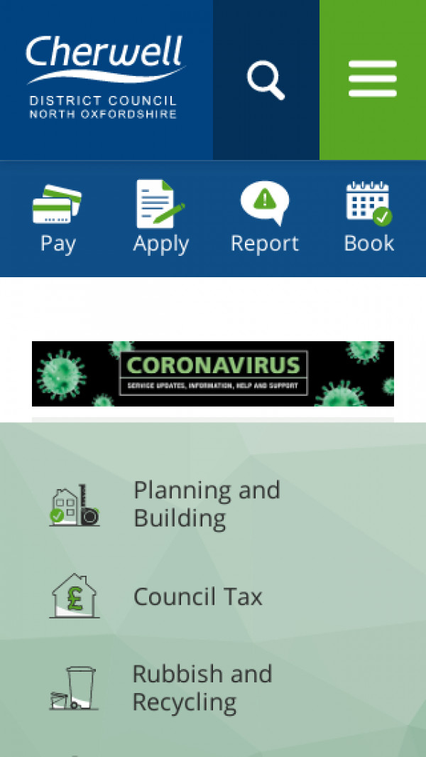 Mobile screenshot of Cherwell District Council website