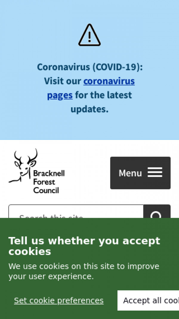 Mobile screenshot of Bracknell Forest Council website