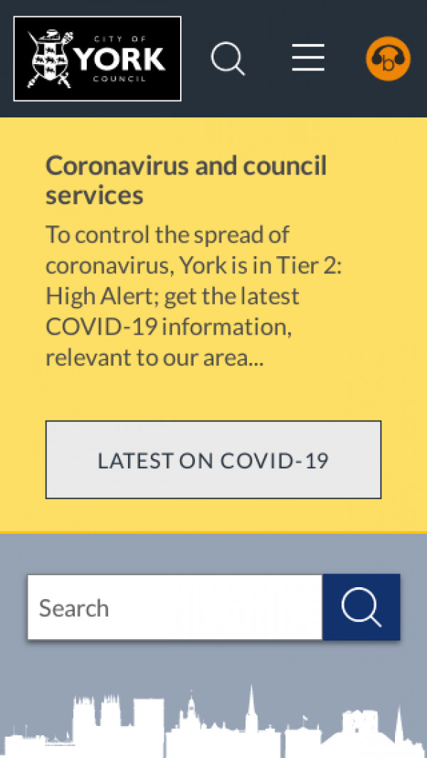 Mobile screenshot of City of York Council website