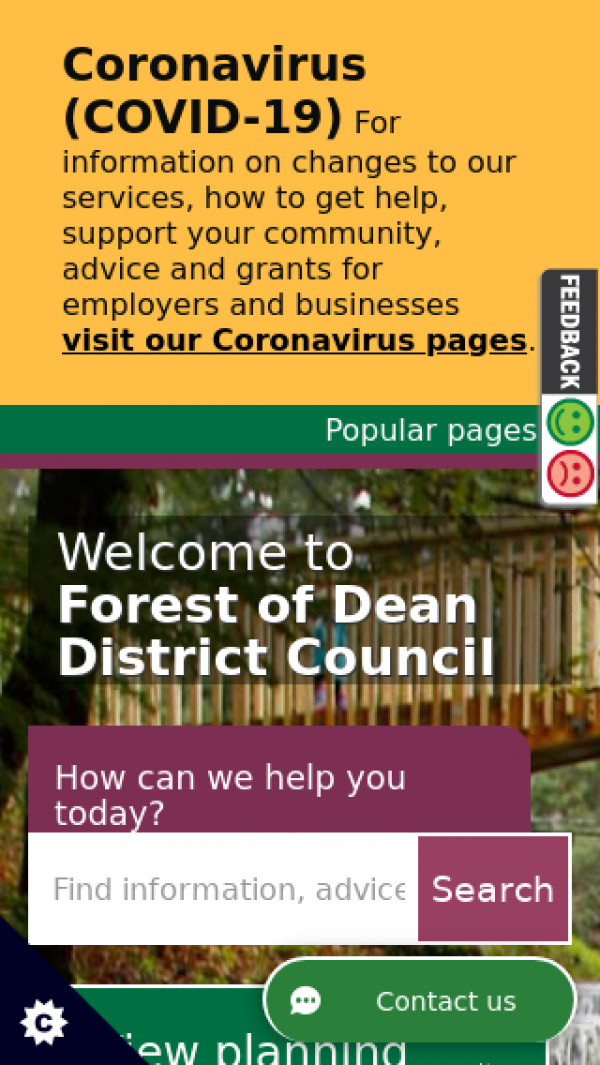 Mobile screenshot of Forest of Dean District Council website