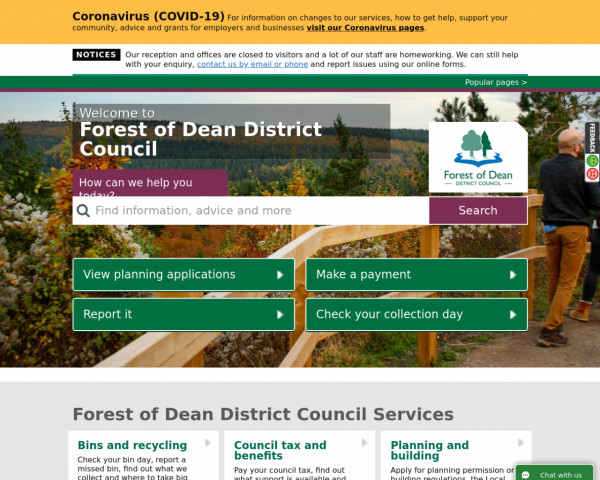 Desktop screenshot of Forest of Dean District Council website