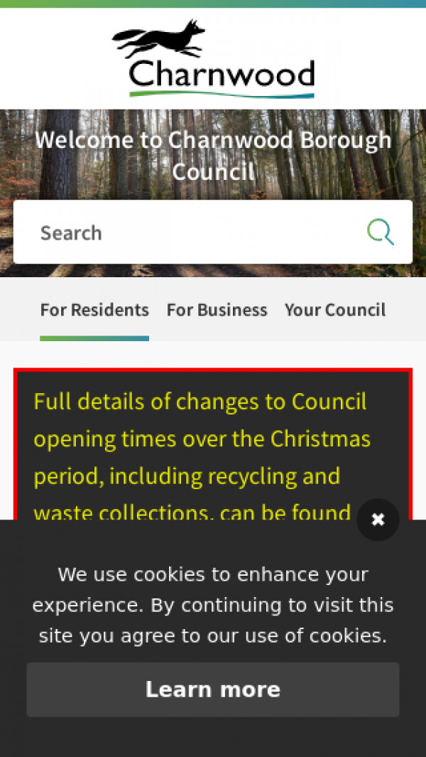 Mobile screenshot of Charnwood Borough Council website