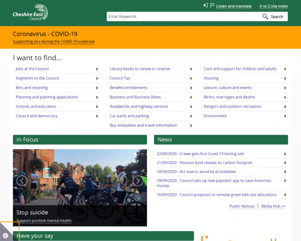 Desktop screenshot of Cheshire East Council website