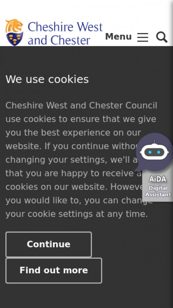 Mobile screenshot of Cheshire West and Chester Council website