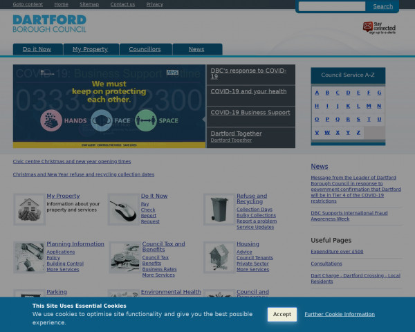 Desktop screenshot of Dartford Borough Council website