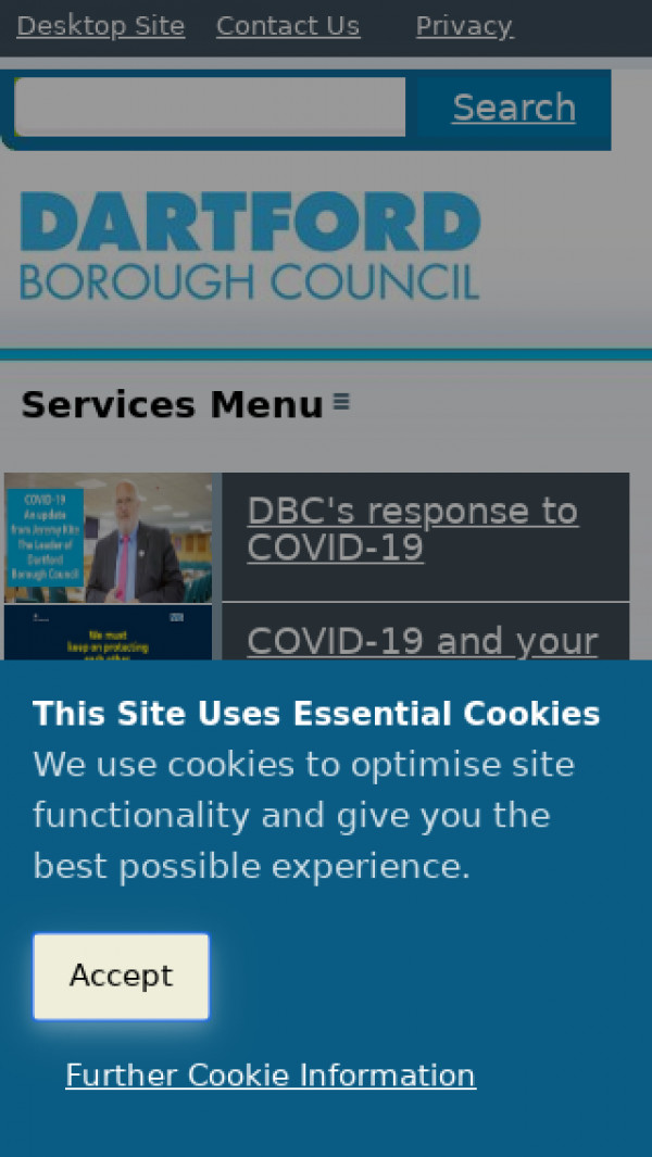 Mobile screenshot of Dartford Borough Council website