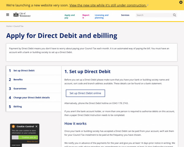Screenshot of Apply for Direct Debit and ebilling | Westminster City Council
