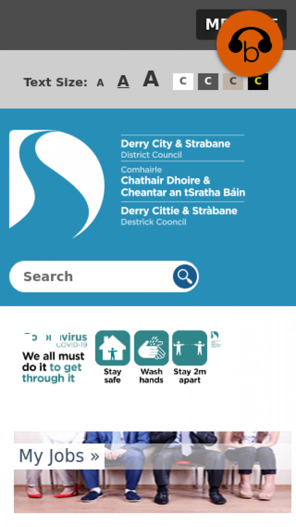 Mobile screenshot of Derry City and Strabane District Council website
