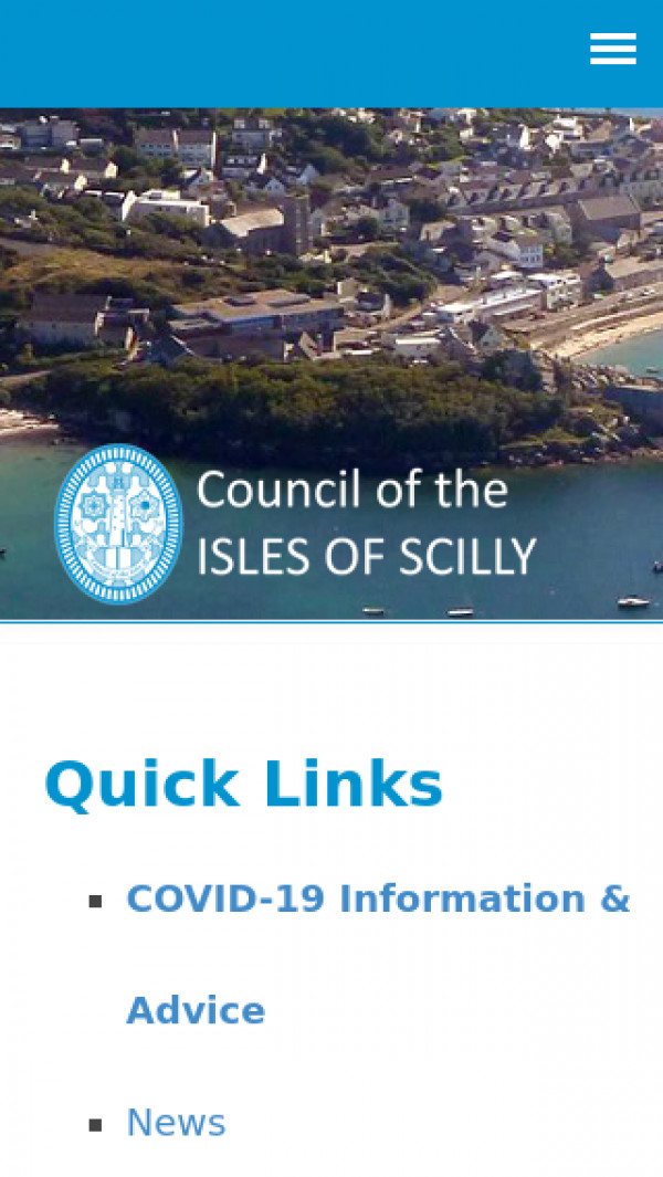 Mobile screenshot of Council of the Isles of Scilly website