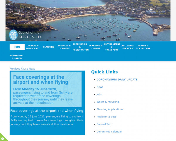 Desktop screenshot of Council of the Isles of Scilly website
